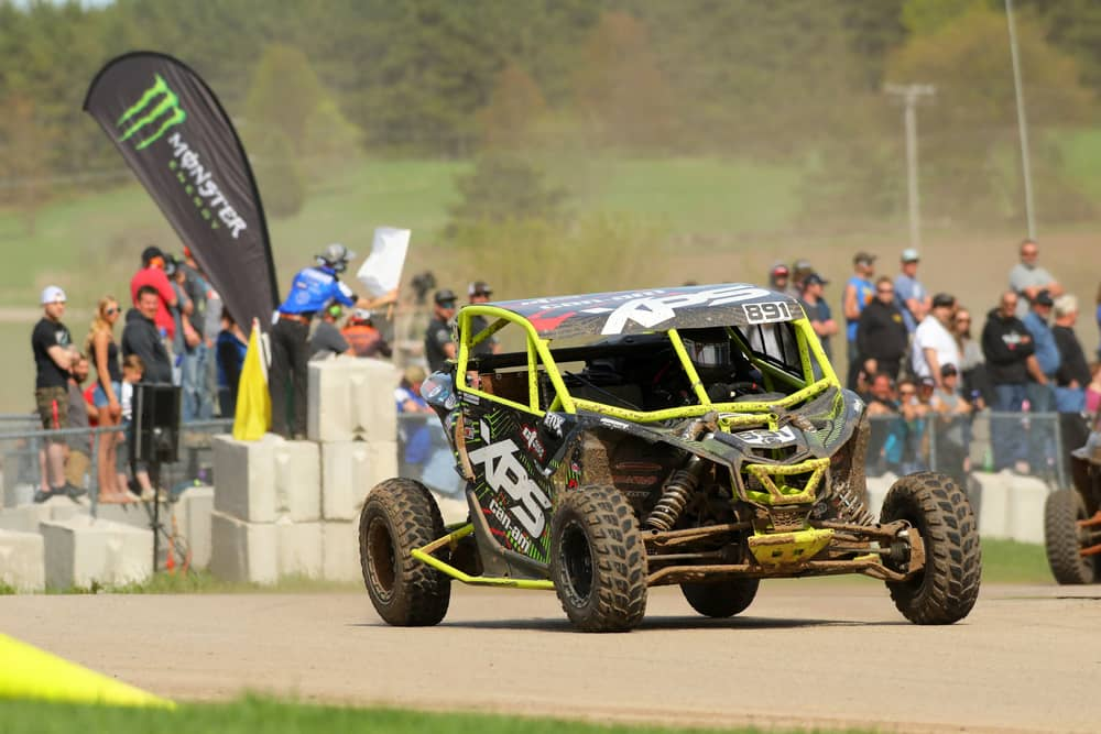 XPS Can-am racing at the Spring National in Shawano Wisconsin as spectators watch