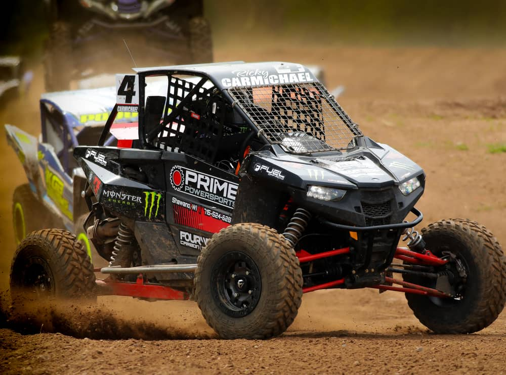 Ricky Carmichael driving a Polaris SXS at the Spring National in Shawano Wisconsin at U.S. Air Motorsports Raceway