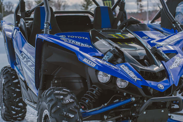 Close up of a blue Yamaha YXZ in Crivitz Wisconsin